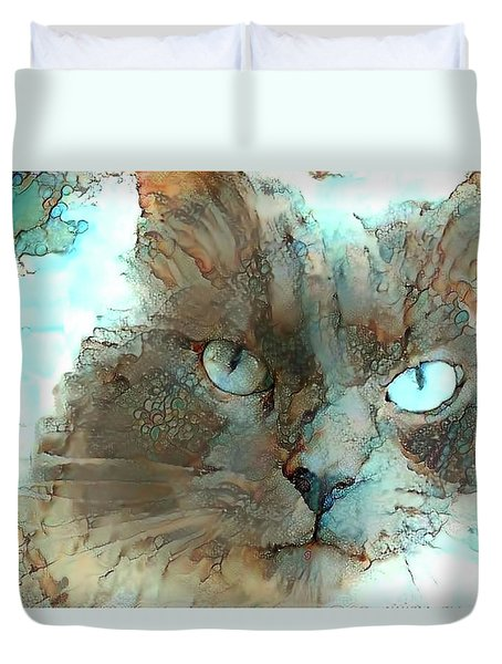 Blue Eyed Persian Cat Watercolor Duvet Cover