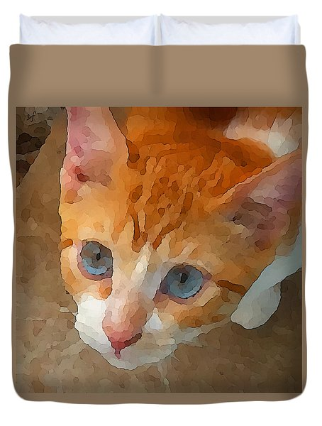 Duvet Cover featuring the digital art Blue Eyed Punk  by Shelli Fitzpatrick