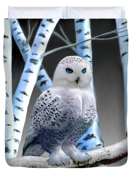 Blue-eyed Snow Owl Duvet Cover by Glenn Holbrook