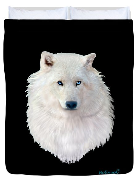 Blue-eyed Snow Wolf Duvet Cover by Glenn Holbrook