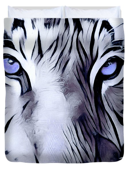 Blue Eyed Tiger Duvet Cover
