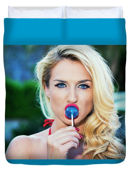 Red Lips Blue Eyes Blue Sucker Duvet Cover