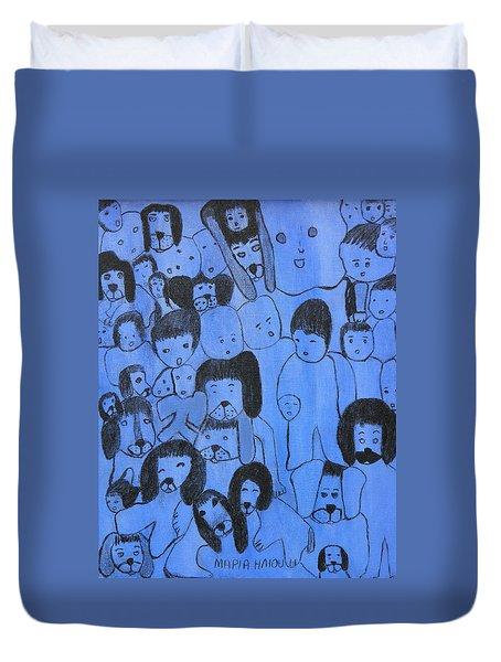 Blue Faces Duvet Cover by Maria Iliou
