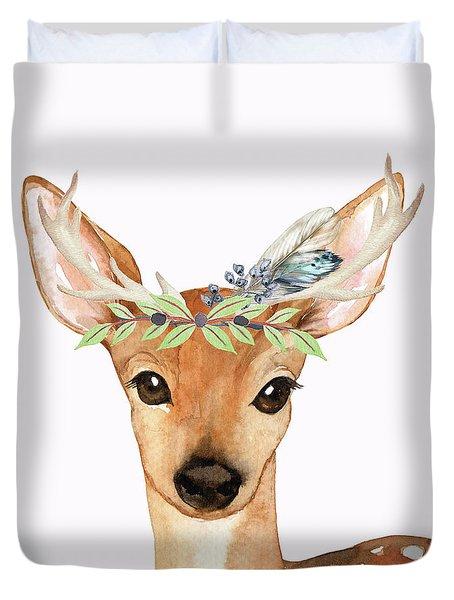 Blue Feather Woodland Boho Deer Duvet Cover