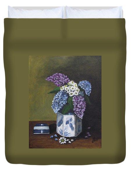 Blue Fish Vase Duvet Cover by Kim Selig
