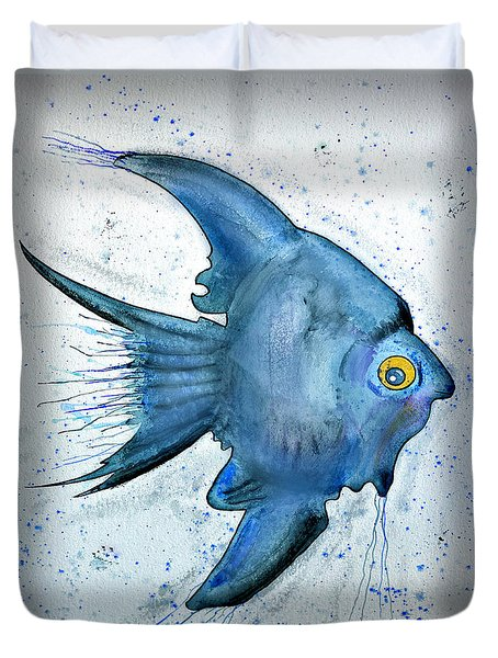 Duvet Cover featuring the photograph Blue Fish by Walt Foegelle