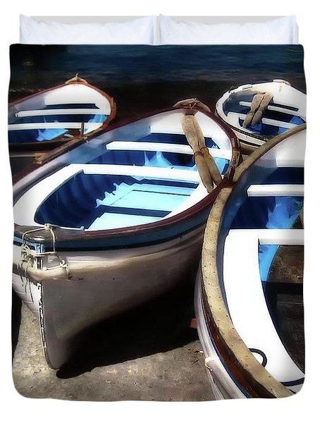 Blue Fishing Boats Duvet Cover