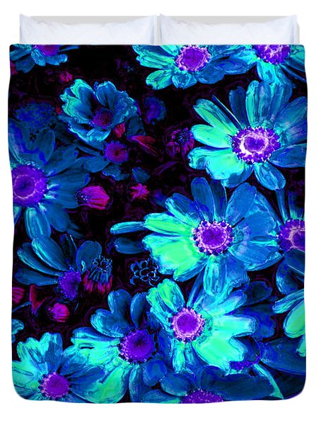 Blue Flower Arrangement Duvet Cover by Phill Petrovic