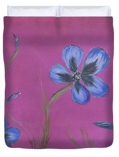 Blue Flower Magenta Background Duvet Cover
