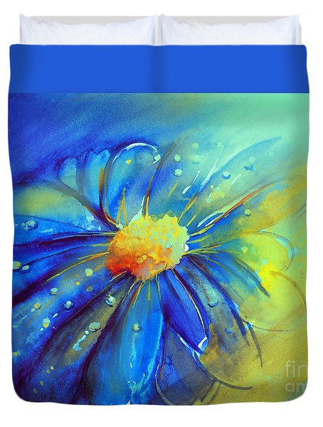 Blue Flower Offering Duvet Cover