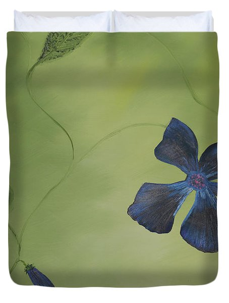 Blue Flower On A Vine Duvet Cover