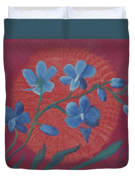 Blue Flower On Magenta Duvet Cover