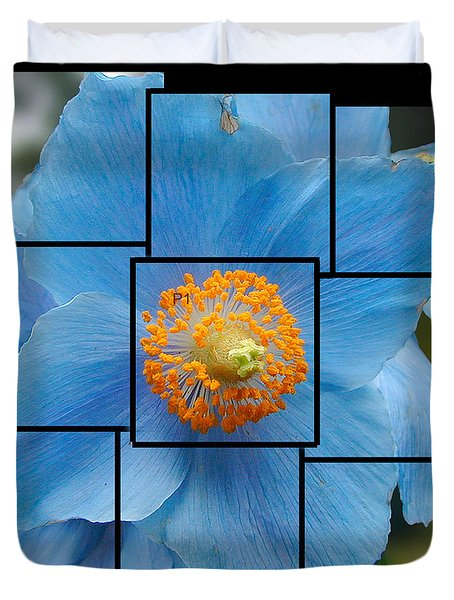 Blue Flower Photo Sculpture  Butchart Gardens  Victoria Bc Canada Duvet Cover