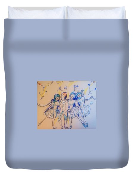 Blue Flower Polka Duvet Cover by Judith Desrosiers