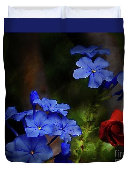 Blue Flowers Growing Up The Apple Tree Duvet Cover
