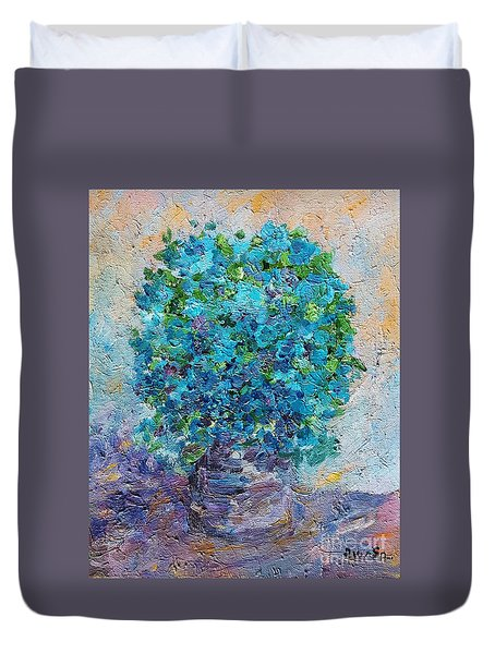 Blue Flowers In A Vase Duvet Cover