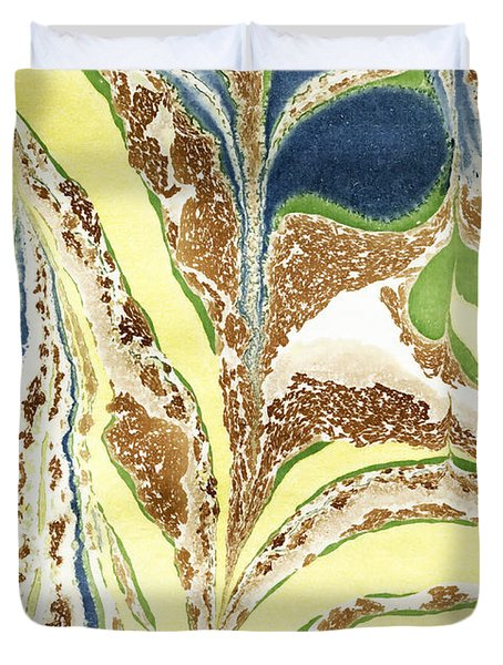 Duvet Cover featuring the painting Blue Flowers In Spring by Menega Sabidussi