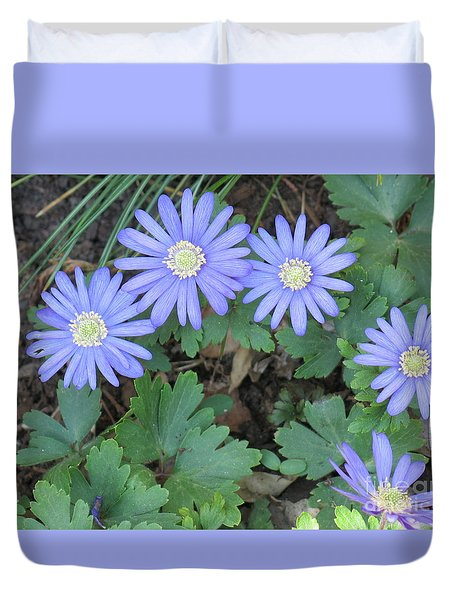 Blue Flowers Duvet Cover by Rod Ismay