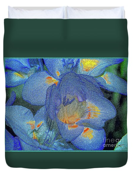 Duvet Cover featuring the photograph Blue Freesia's by Lance Sheridan-Peel