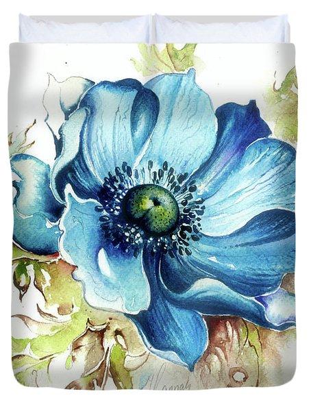 Duvet Cover featuring the painting Blue Gem by Anna Ewa Miarczynska