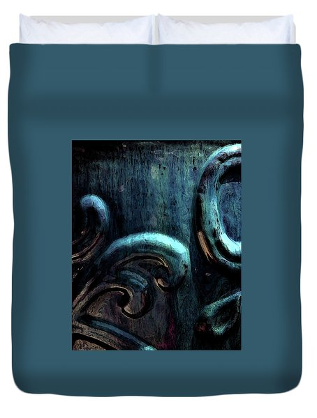 Blue Glazed Vessel Detail Digital Painting 2365 Dp_2 Duvet Cover