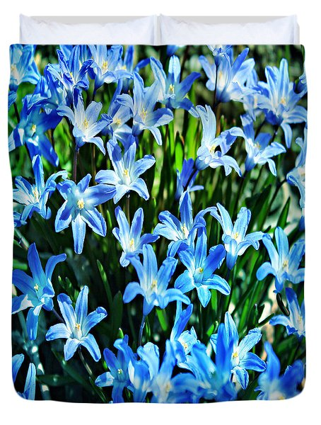 Blue Glory Snow Flowers  Duvet Cover