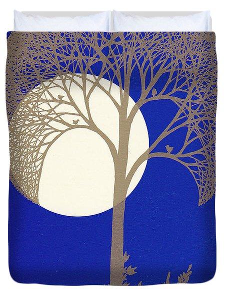 Blue Gold Moon Duvet Cover
