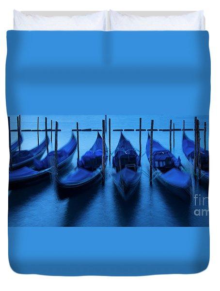 Duvet Cover featuring the photograph Blue Gondolas by Brian Jannsen
