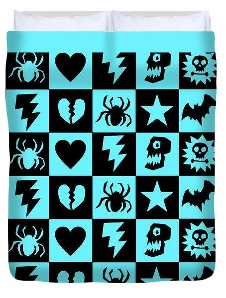 Blue Goth Punk Checkers Duvet Cover