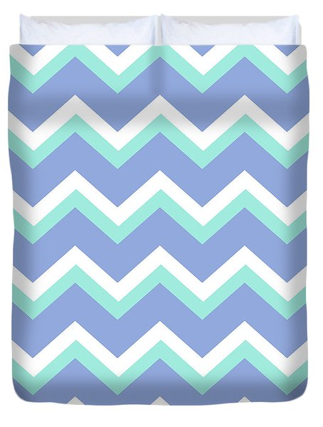Blue Green Chevron Pattern Duvet Cover