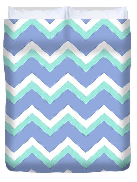 Blue Green Chevron Pattern Duvet Cover