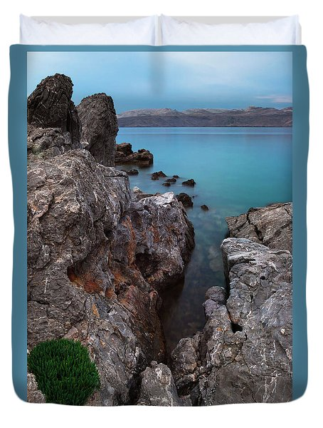 Duvet Cover featuring the photograph Blue, Green, Gray by Davor Zerjav