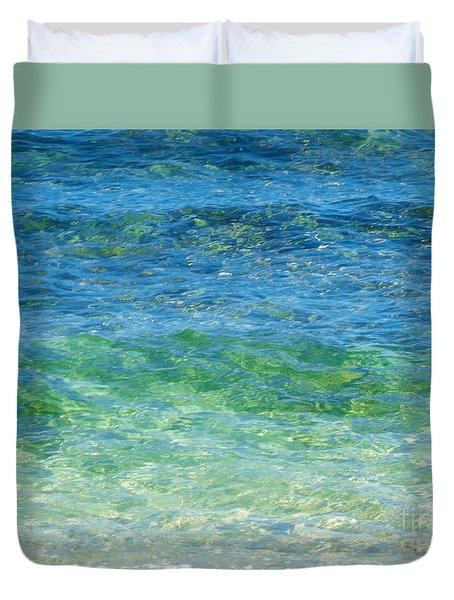 Blue Green Waves Duvet Cover