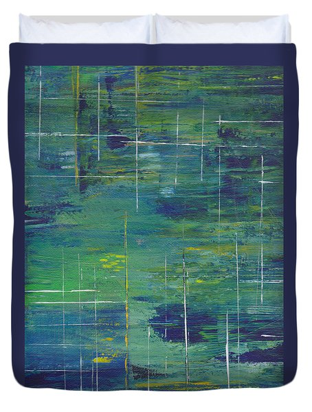 Blue Green Yellow Abstract  Duvet Cover by Patricia Cleasby