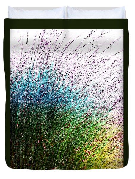Blue Green Yellow Grasses Duvet Cover