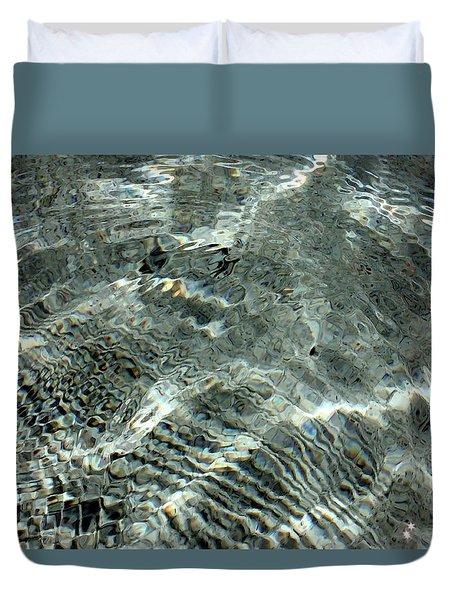Duvet Cover featuring the digital art Blue Grey Swirls by Ellen Barron O'Reilly
