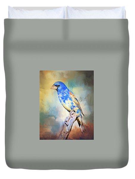 Duvet Cover featuring the photograph Blue Grosbeak by Barbara Manis
