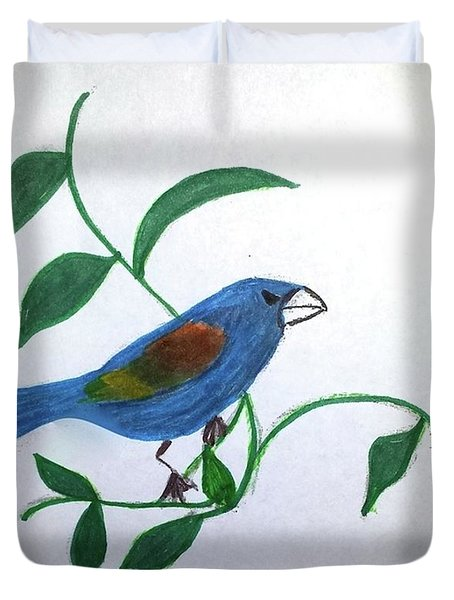 Duvet Cover featuring the painting Blue Grosbeak by Margaret Welsh Willowsilk