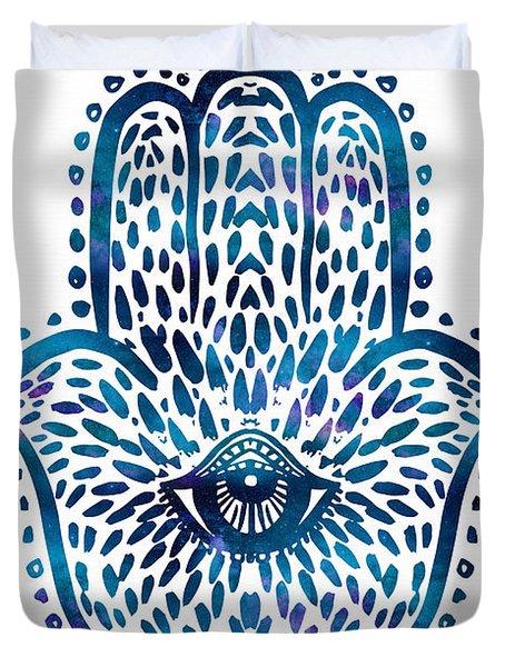 Blue Hamsa Hand Duvet Cover