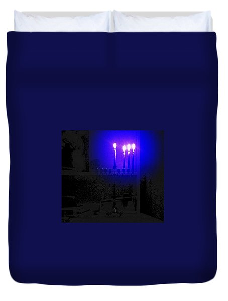Blue Hanukkah On The Third Day Duvet Cover