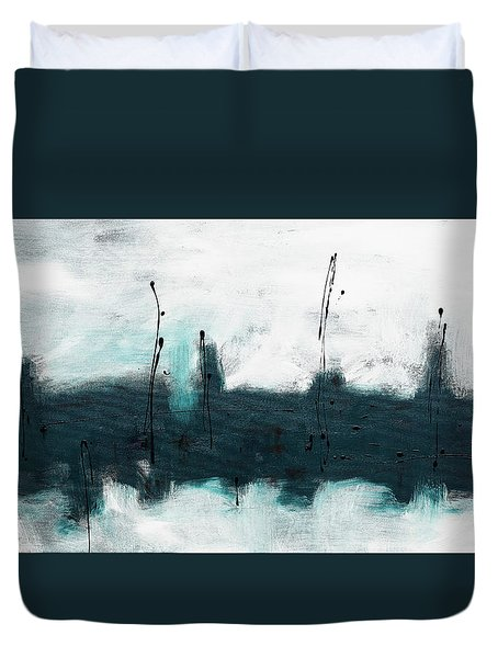 Duvet Cover featuring the painting Blue Harbour by Carmen Guedez