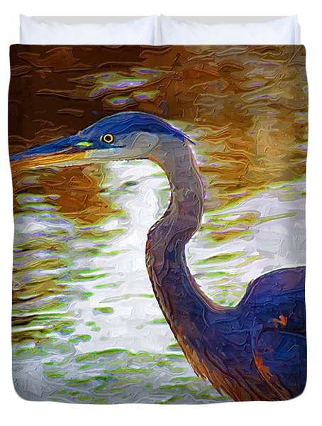 Duvet Cover featuring the photograph Blue Heron 2 by Donna Bentley