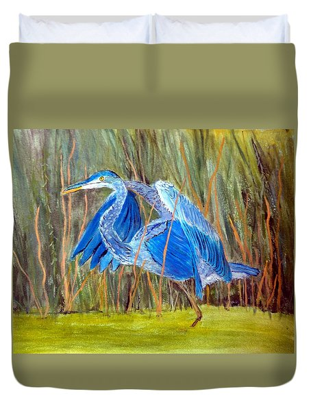 Blue Heron In Viera  Florida Duvet Cover