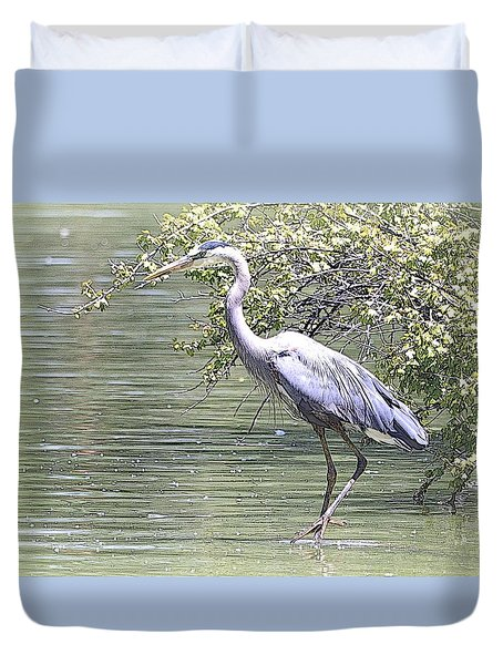 Blue Heron Duvet Cover by Clarice  Lakota