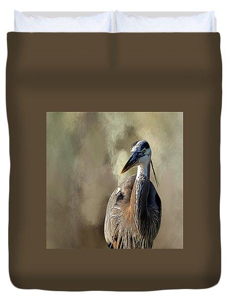 Blue Heron Duvet Cover by Cyndy Doty