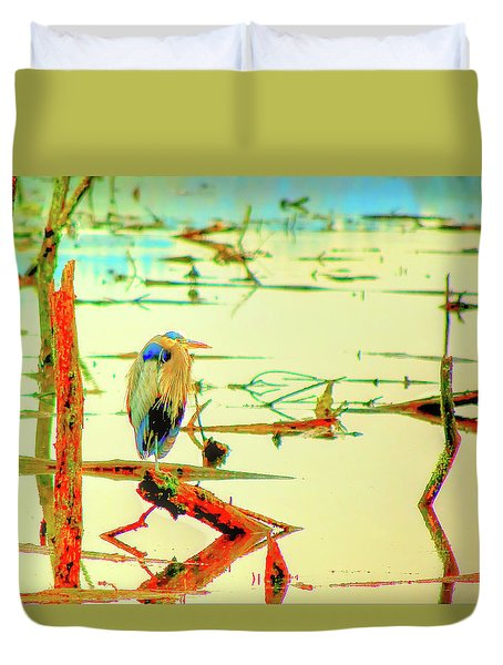 Duvet Cover featuring the photograph Blue Heron by Dale Stillman