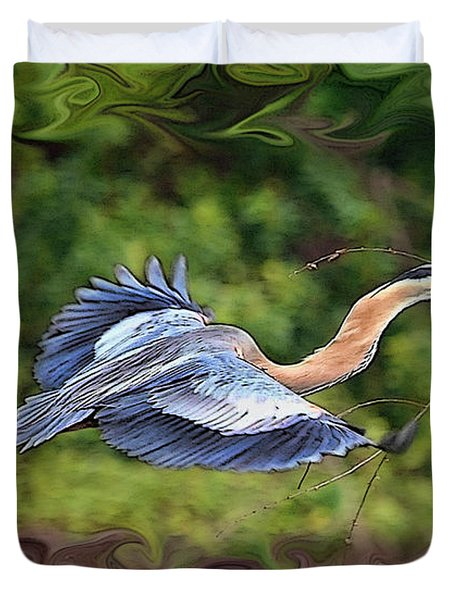 Duvet Cover featuring the photograph Blue Heron Flight by Shari Jardina