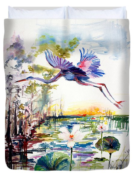 Duvet Cover featuring the painting Blue Heron Glides Over Lotus Flowers by Ginette Callaway