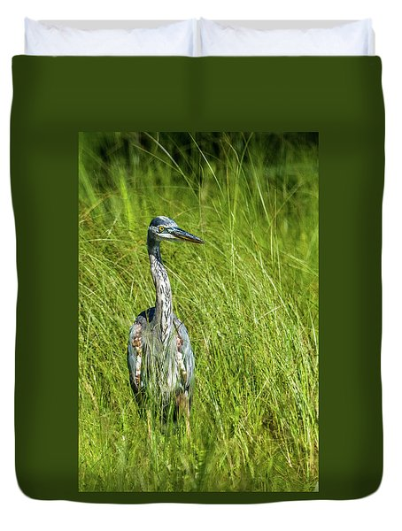 Duvet Cover featuring the photograph Blue Heron In A Marsh by Paul Freidlund