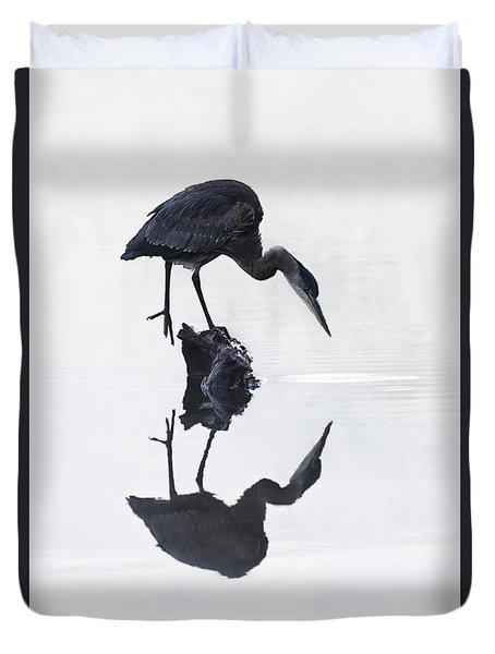 Blue Heron In High Key Duvet Cover